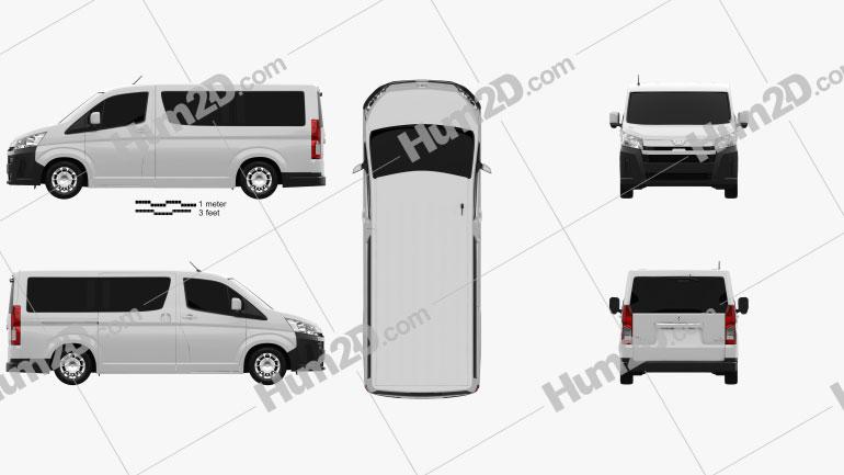 Toyota Hiace Passenger Van L1H1 Deluxe 2019 Clipart Image