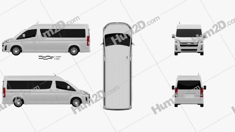 Toyota Hiace Passenger Van L2H2 GL 2019 Clipart Image