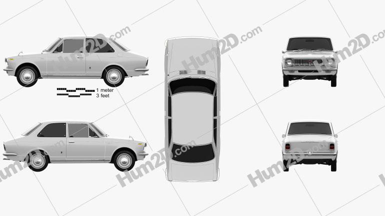 Toyota Corolla 2-door sedan 1966 car clipart