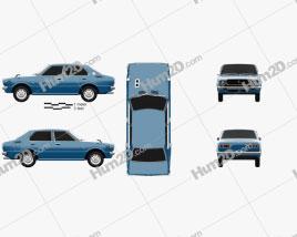 Toyota Corolla 4-door sedan 1974 car clipart