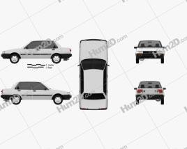 Toyota Corolla sedan 1983 car clipart