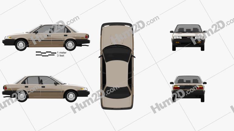 Toyota Corolla sedan 1987 car clipart