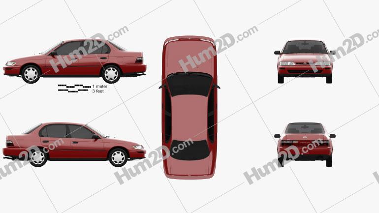 Toyota Corolla sedan 1995 car clipart