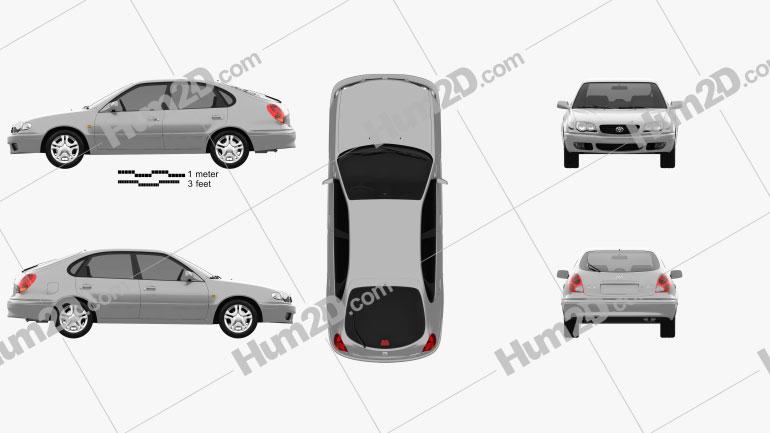 Toyota Corolla 5-türig 1999 car clipart