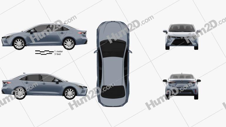 Toyota Corolla XLE US-Spez sedan 2019 car clipart