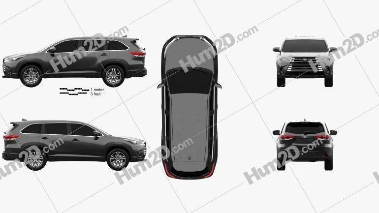 Toyota Highlander LEplus 2016 Clipart Image