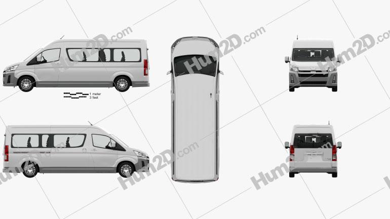 Toyota Hiace Passenger Van L2H2 GL with HQ interior RHD 2019 clipart