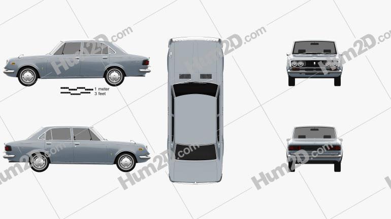 Toyota Mark II sedan 1968 Clipart Image