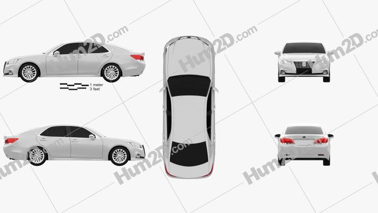 Toyota Crown Royal Saloon 2013 car clipart