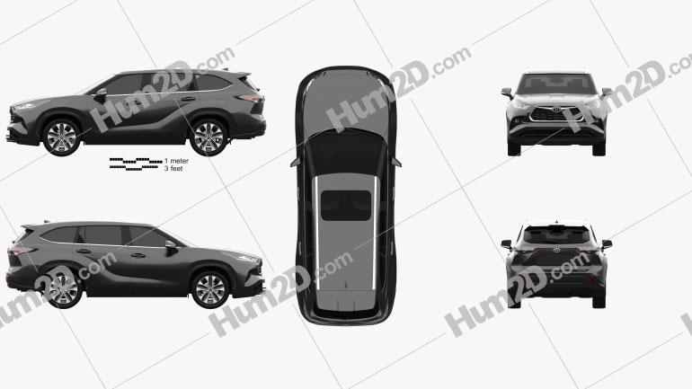 Toyota Highlander XLE 2020 car clipart