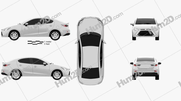 Toyota Yaris XLE CA-spec sedan 2015 car clipart