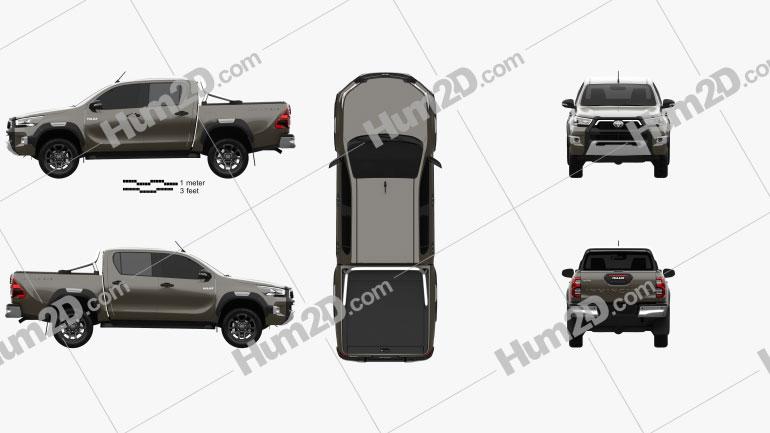 Toyota Hilux Double Cab Invincible 2020 car clipart