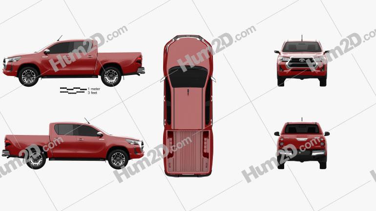 Toyota Hilux Double Cab 2020 car clipart