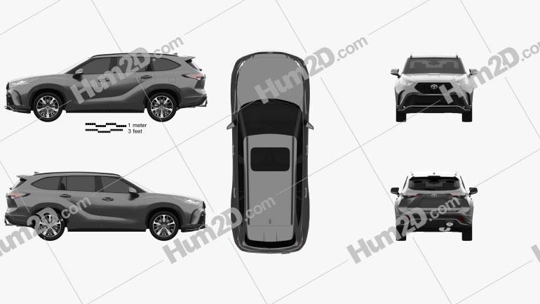 Toyota Highlander XSE 2020 Clipart Image