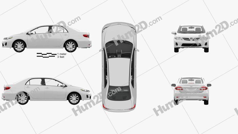 Toyota Corolla LE with HQ interior 2011 car clipart