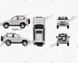 Toyota Land Cruiser Prado 3-door with HQ interior 2009 car clipart