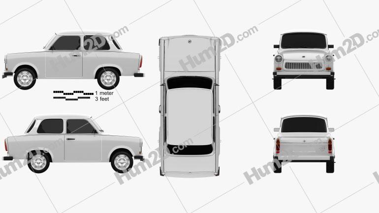 Trabant 601 Sedan 1963 car clipart