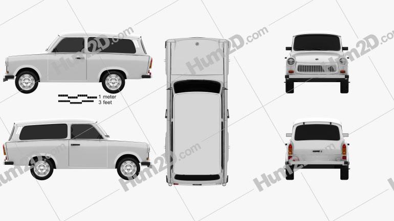 Trabant 601 Kombi 1965 car clipart