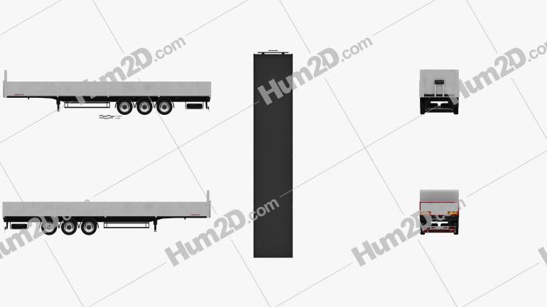 Schwarzmueller Platform Semi Trailer 3-axle 2016 clipart
