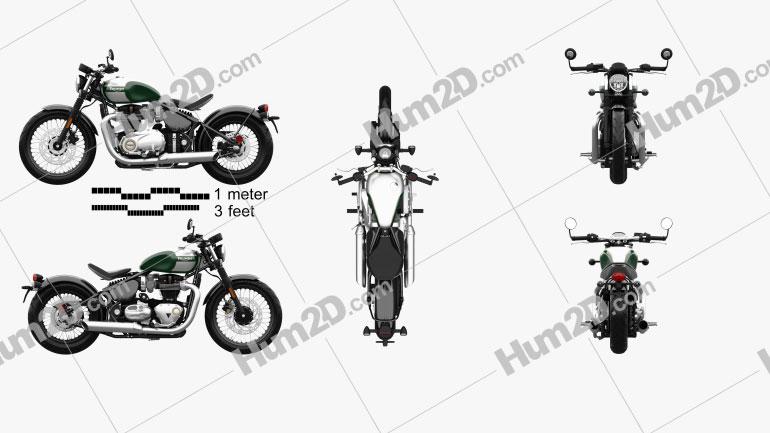Triumph Bonneville Bobber 2017 Motorcycle clipart