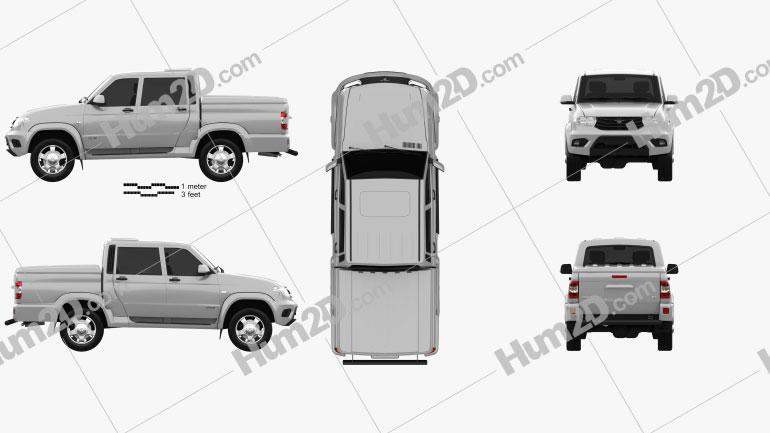 UAZ Patriot (23632) Pickup 2014 car clipart