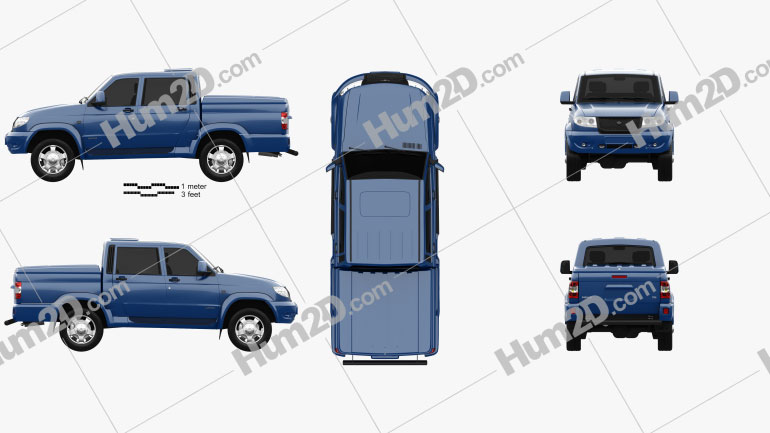 UAZ Patriot (23632) Pickup 2013 car clipart