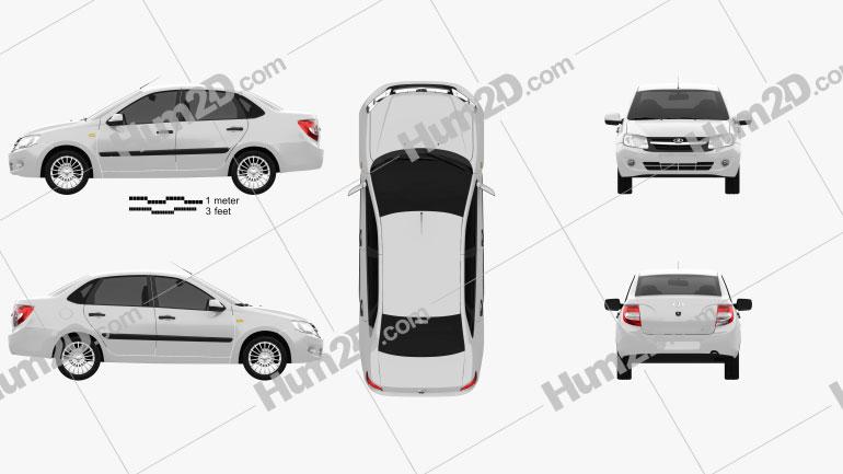 Lada Granta sedan 2012 car clipart