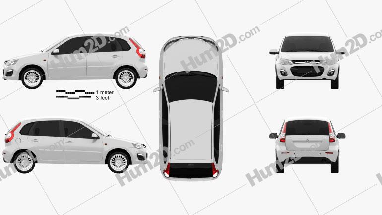 Lada Kalina 2 hatchback 2013 car clipart