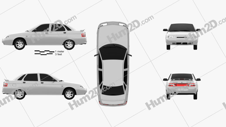 VAZ Lada 2110 sedan 1995 Clipart Image