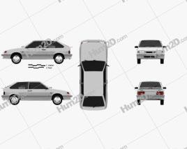 VAZ Lada Samara (2113) hatchback 3-door 1997 Clipart