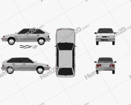 VAZ Lada Samara (2114) hatchback de 5 portas 1997 car clipart