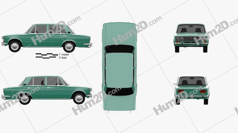 VAZ Lada 2103 1972 car clipart