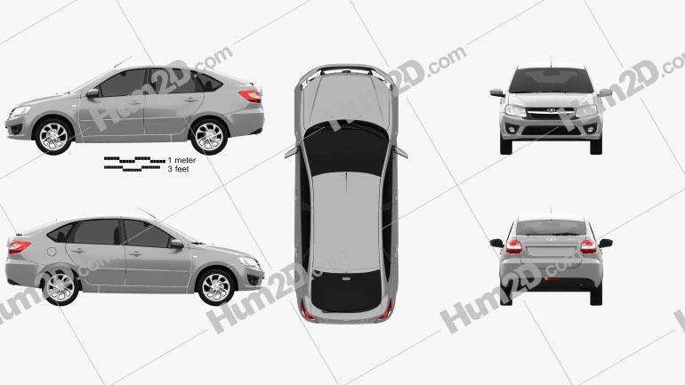 Lada Granta liftback 2014 car clipart