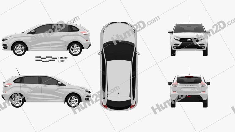 VAZ Lada XRAY 2015 car clipart