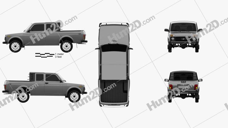VAZ Lada Niva 4×4 2329 Pick-up 2015 car clipart
