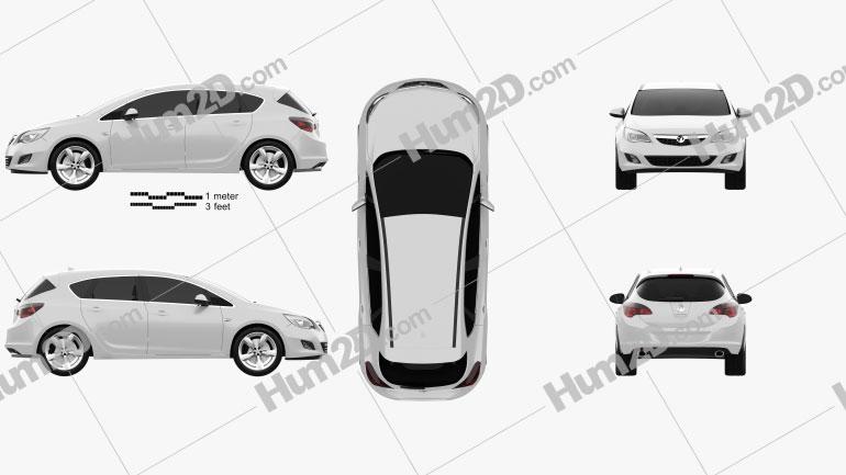 Vauxhall Astra Hatchback 5-door 2011 car clipart