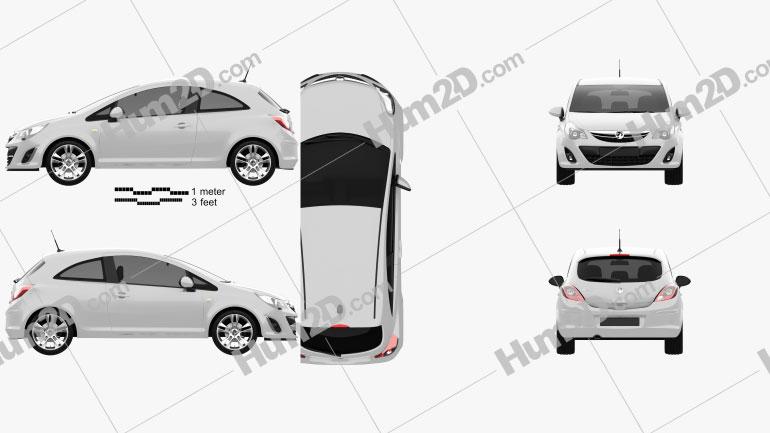 Vauxhall Corsa 3-door 2011 car clipart