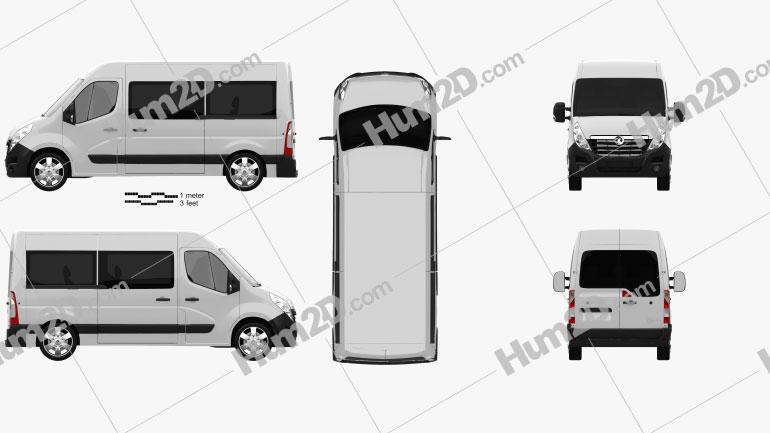 Vauxhall Movano Passenger Van 2010 clipart