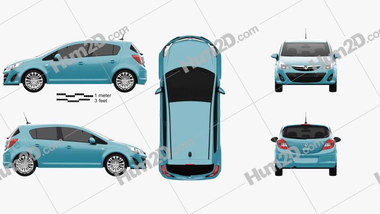 Vauxhall Corsa (D) 5-door 2010 Clipart Image