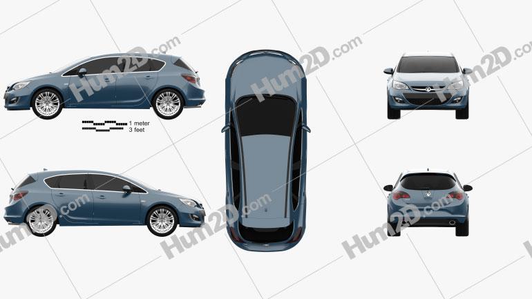 Vauxhall Astra 5-door hatchback 2012 car clipart