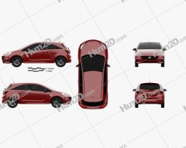 Vauxhall Corsa (E) 3-door 2014 car clipart