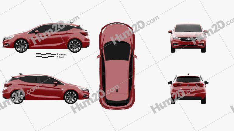 Vauxhall Astra Turbo hatchback 2016 car clipart