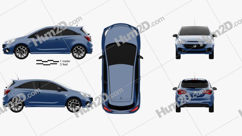 Vauxhall Corsa (E) VXR 3-door hatchback 2015 car clipart