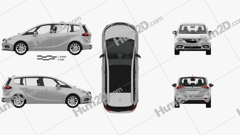 Vauxhall Zafira (C) Tourer with HQ interior 2016 clipart