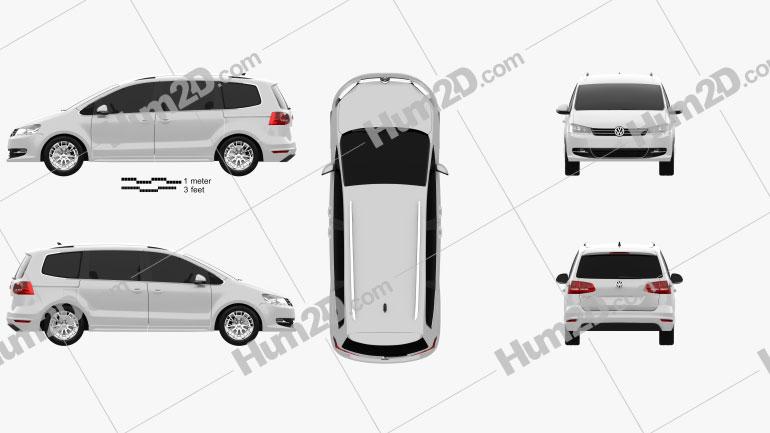Volkswagen Sharan (Typ 7N) 2010 Clipart Image