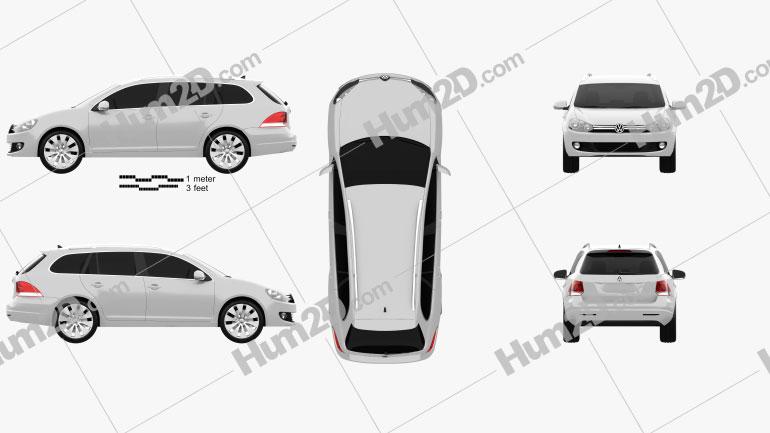 VolksWagen Golf Variant 2010 car clipart