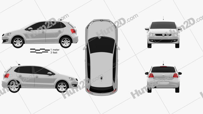 Volkswagen Polo 5-door 2010 Clipart Image