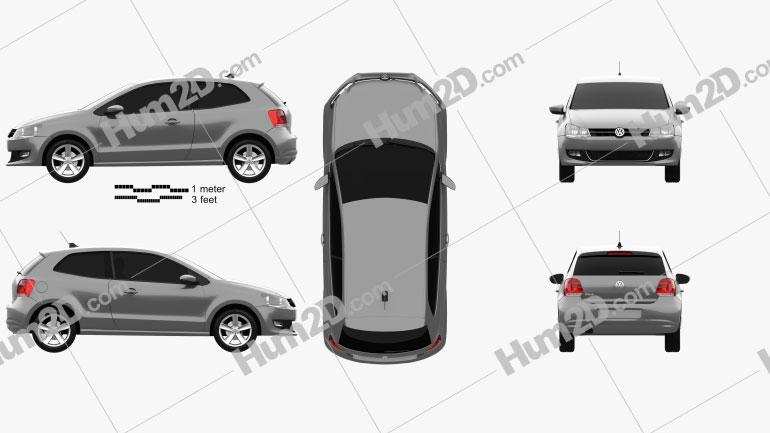 Volkswagen Polo 3-door 2010 car clipart