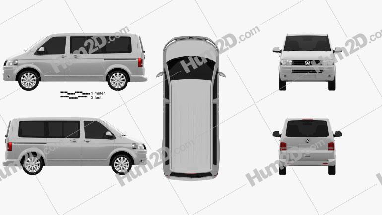 Volkswagen Transporter T5 Caravelle Multivan 2011 car clipart