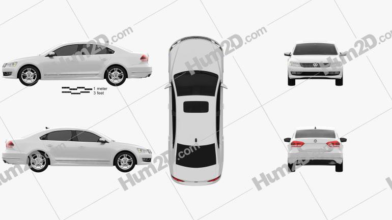 Volkswagen Passat US 2012 Clipart Image